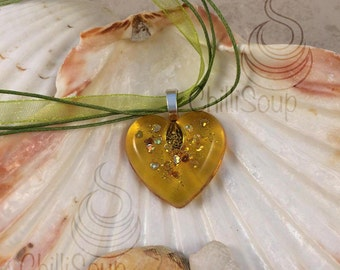 Yellow heart pendant - organza ribbon necklace - gift for her - yellow necklace - birthday - anniversary