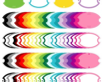 80 colored Digital Frames (Eps and PNG), Digital Colored Label Frames Borders - Instant Download - Commercial Use
