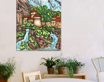 Original digital painting on canvas - Castle waterfall - Limited Edition