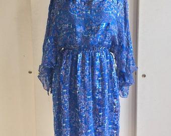 1980's Silk Batwing Sleeve Dress