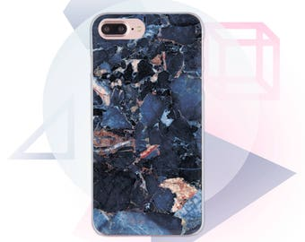 Dark Blue Marble Clear Case iPhone 6 Plus Case Clear iPhone X Case Transparent Marble iPhone 8 Case Marble Phone 7 Iphone 7 Plus  MC1023