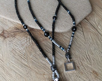 Two-Tiered Beaded Necklace with Stone Pendant