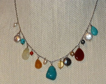 Mixed stone necklace on Sterling Silver Chain