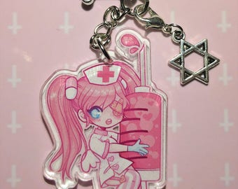 Kawaii Nurse! Menhera Yamikawaii Creepy Cute Keychain