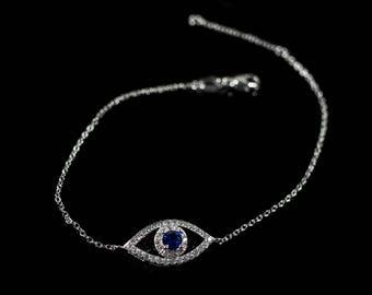 Dark blue evil eye silver bracelet with cubic zirconia