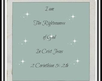 Digitalblossomeprint; I am the righteouness of God in Christ Jesus,bible verse, print art, digital, image,quote, stars,decor, gift,church
