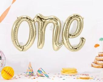 One Script Gold Balloon, One Balloon, One script Balloon, Gold ONE  Balloon, First Birthday Balloon, 1 balloon,ONE balloon,Gold Foil Balloon