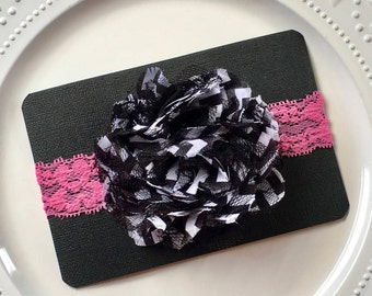 Black and White Chevron Chiffon and Shredded Lace Flower on Lace Headband Baby and Toddler Glam  Chevron Headband Baby Photo Glam Headband
