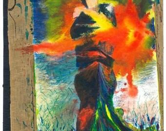 Embrace in Light (original watercolor print)