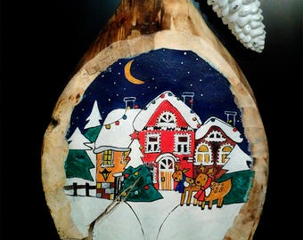 Christmas Waiting - Art Wood Slice Painting, Magic Soul Gifts, Hand Painted Nature Wood Slice Decor, Merry Christmas! Free shipping!