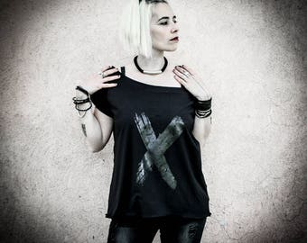 X - Black Printed oversized maxi t-shirt top, Short Sleeves cotton shirt, Loose Print Top Tee, Industrial Grunge Alternative Clothing