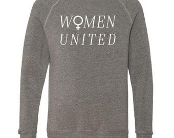 New WOMEN UNITED, Feminist Crew Neck Sweatshirt, Heather Gray, Fleece, Anna Joyce, Portland,