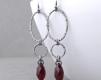 Long Red Earrings Red Crystal Earrings Silver Drop Earrings Geometric Jewelry Rustic Jewelry Gift for Her - Adorned Aubrey