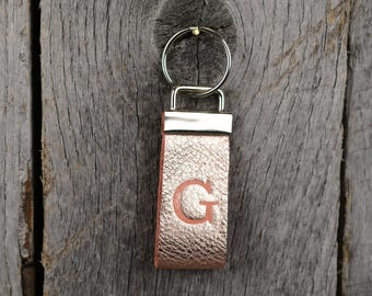 Rose Gold Leather Key Fob with Stamped Initial Monogram Key Chain Custom Personalized Gift for Bridesmaids