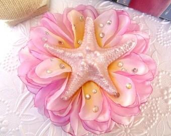 """Mermaid Hair Clip, Pink Starfish Dahlia Hair Clip, Hair Clip, Pinup Hair Accessorie- """"Retro Mermaid"""""""