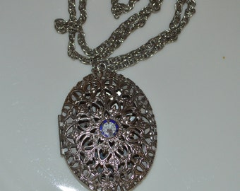 FRATERNAL LOVE - Large 1940s Filigree Sweetheart Locket Necklace Elks Lodge Pendant - Silver & Enamel