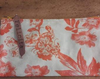 Orange floral cotton zipper pouch