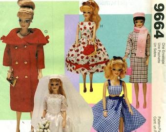 McCall's 9664 BARBIE VINTAGE RETRO Doll Clothes Fashion Dolls 1998