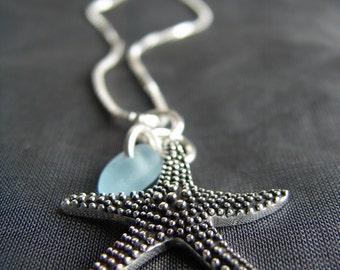 Sea Glass Necklace  /  sea glass jewelry  /  seaglass jewelry  /  beach glass necklace  /  starfish necklace  /  star fish jewelry