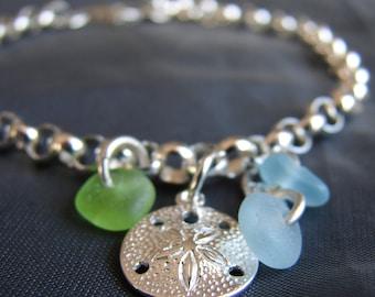 Little Sand Dollar sea glass bracelet in aqua and lime green  /  beach glass bracelet  /  sea glass jewelry  /  sea glass jewellery