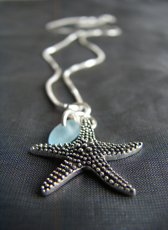Starry Starry Night sea glass necklace