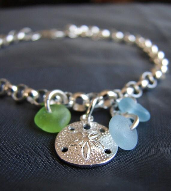Little Sand Dollar sea glass bracelet