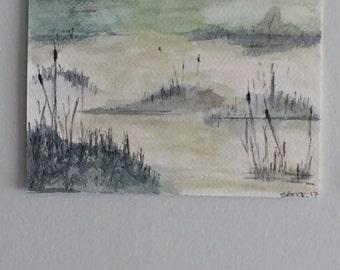 Landscape Watercolor Painting Everglades Pond Shore wall art Sunrise over Flatlands OOAK Original Watercolor