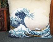 Hokusai's Great Wave Off Kanagawa Design Zippered Japanese Furoshiki Pillow Cover