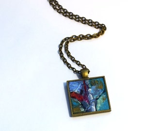 Hand Painted Art Necklace , One of a Kind, Original Painting, Pendant , Wearable Art, Red, Blue, Necklace, Handpainted Pendant