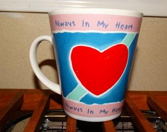 Valentine Coffee Mug, Always in my Heart, Sweetheart Hot Cocoa Mug, Red & White, Heart, Cupid, Lovers, Red Heart, Sweetheart Mug