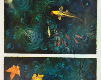 Scenes from the Koi pond, A break in the storm, mixed media Original #Art #Wall art #Koi art #Gina Signore #painting #Fall #Contemporary art