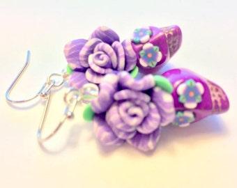Sugar Skull Earrings Day of the Dead Earrings Purple and Green Dia De Los Muertos Earrings