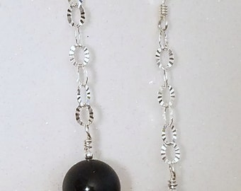 E1106 Mat Finished Black Onyx with a Polished Butterfly on a Sterling Silver Chain Earrings