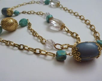 vintage Boho bead and precious stone necklace. bead necklace.