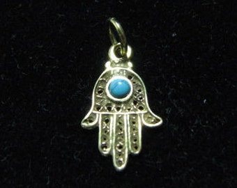 14K Gold Hamsa Pendant for Bracelets and Necklaces, White or Yellow Gold Hamsa Charm with Gemstone, Filigree Hamsa Hand Choose your gemstone