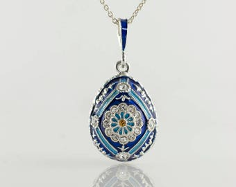 Enamel Jewelry Necklace Sterling Silver Blue Pendant Enameled Egg Jewelry Pendant Queen Daisy w Swarovski Crystals Gift For Her Gift For Mom
