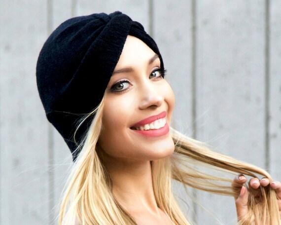 Knit Turban Hat Black Stretch Turban Hat Full Turban Doo Rag Fall Fashion Knit Hat Packable Turban Hat 1940s Turban 1930s Turban 1950s 1960s