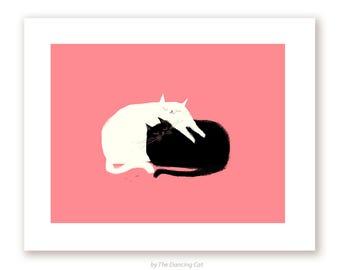 Cat Painting - Love Pile - Cat Art - Cat Mom - Love