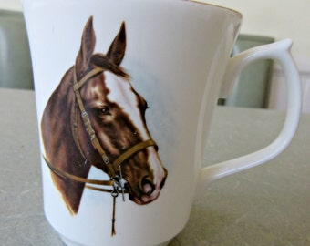 Vintage Mug, Horse Mug, Equine Cup, Coffee Cup, Made in England, Bone China Mug, Horse Cup, Equestrian, Jason Works, Nanrich Pottery Cup