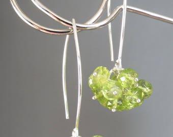 Peridot Dangle Earrings - Genuine Faceted Peridot Sterling Silver Earrings - August Birthstone Jewelry - Apple Green Cluster Earrings