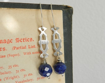 Reclaimed Silver Tray Fragment and Faceted Lapis Earrings-Artisan