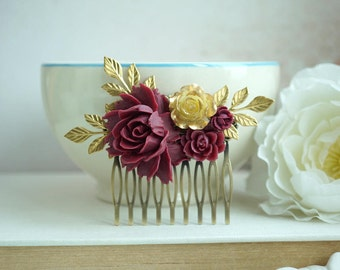 Burgundy Flower Gold Comb, Burgundy and Gold Wedding, Masala Wedding, Maroon Wedding Comb, Maroon Bridal Comb Deep Red Comb Bridesmaids Gift