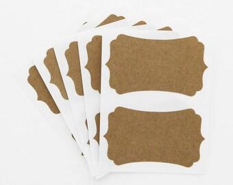 Blank Kraft Labels Brown Rectangle Bracket Custom