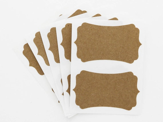 Blank Kraft Labels Brown Rectangle Bracket Custom