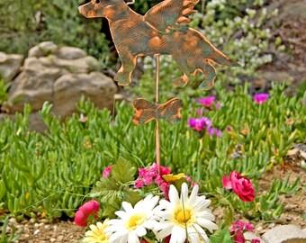 German Shepherd Garden Stake / Metal Garden Art / Pet Memorial / Angel Dog / Copper Art / Outdoor Dog Sculpture / Pet Sign / Dog Grave Spike