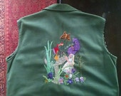 RESERVED - Vietnam Military Shirt Vest Hand Embroidered Alice in Wonderland