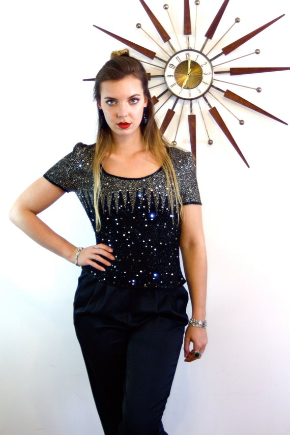 Fully Beaded Blouse, Black & Silver Blouse, Sparkly Glass Beads, Vintage 80s top, Fully Beaded Blouse, black sequin blouse, Short Sleeve top