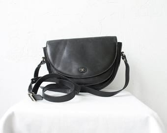 70s 80s black leather satchel. shoulder bag. crossbody bag