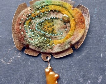 Tidal Pool, a Brooch of Layered Felt, Pearls, Beads and Embroidery