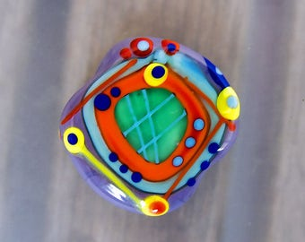 Free Colors - 1 free shaped lampwork bead - Modern Glass Art by Michou P. Anderson